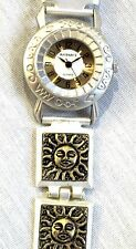 """SUN FACE WATCH *LADIES FASHION WATCH *2 TONE METAL 8"""" BAND *NUMBERS ON FACE* NEW"""