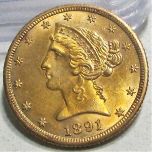 1891-CC LIBERTY HEAD $5 HALF EAGLE US GOLD COIN **GEM/BU** RARE US COIN.