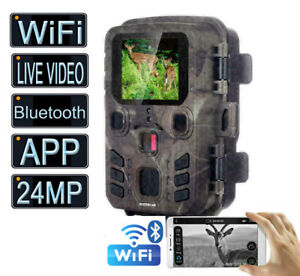 LIVEVideo WiFi Bluetooth Trail Camera 24MP Hunting Wildlife Outdoor Night Vision