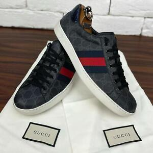 Authentic GUCCI Ace Low Top Sneakers Gray Supreme GG Canvas Sz 7 or 8 US 41 EUR