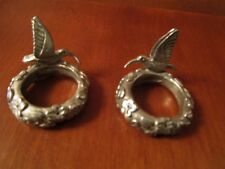 RARE PAIR SEAGULL PEWTER  HUMMINGBIRD  FLORAL CANDLE RINGS  BOBECHE