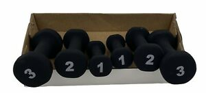 Dumbell Weight Set,Yoga,Strength Training, Black Soft Coated, 1-3lb Pairs, New