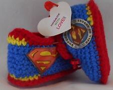 Handmade Custom Crochet SUPERMAN Blue Running Gym Shoe Baby Booties