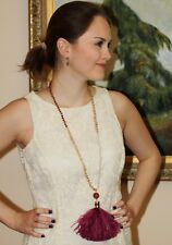 KATE SPADE NEW YORK SWING TIME Gold stone & PURPLE FEATHER LARGE TASSEL NECKLACE