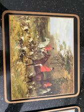 Vintage Pimpernel Set Of Six English Fox Hunting Placemats Cork Backed