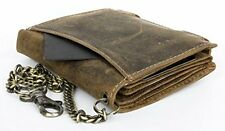 Mens Natural Genuine Leather Wallet with Metal Chain with Shark