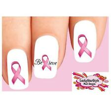 Waterslide Nail Decals Set of 20 - Pink Breast Cancer Believe Awareness Ribbon