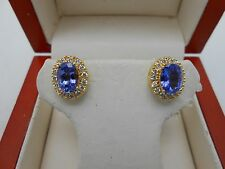 Gorgeous 18k 750 Solid Yellow Gold Natural Purple Tanzanite & Diamond Earrings