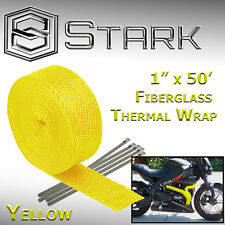 "1"" x 50' Ft Motorcycle Header Exhaust Heat Wrap Fiberglass Manifold - Yellow"