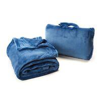 Cabeau Travel Blanket with Travel Bag - Blue Fold 'n Go Blanket