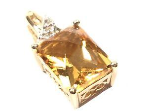 Elegant Ladies 10K Yellow Gold Faceted Citrine Pendant - EMA