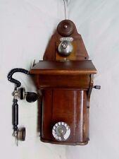 "Anitque 1920's Danish Rotary Wall Phone JYDSK Denmark 27""h X 10 1/4""w X 9 3/4""d"