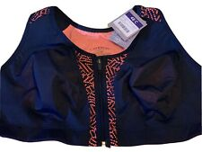 Catherines 48 C Sports Bra Zip Front Intimates Navy Blue Coral Active Plus Size