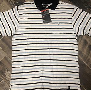 New $34 Men's Southpole Polo Shirt Striped Navy Blue Classic Short Sleeve XL