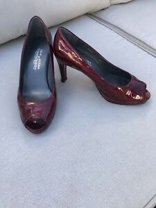 Russell & Bromley Deep Wine Red Open Toe Court Shoes Size UK 4.5 - Worn Once