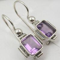 """925 Solid Silver Gemstone New Jewelry Purple Amethyst Dangle Earrings 1.1"""""""