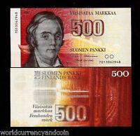 FINLAND 500 MARKKAA P116 1986 LONNROT PRE EURO UNC MONEY FINNISH CURRENCY NOTE