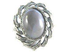 Silver tone Art glass Stone Vintage Ring Jewelry