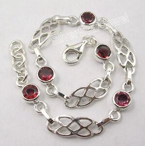 .925 Sterling Silver Genuine RED GARNET Gemstones ART Cast Bracelet 7 5/8 Inches