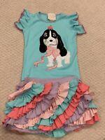 EUC Lemon Loves Lime Toddler Girl Size 3 Shirt and skirt short skort set rainbow