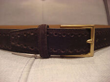 COLE HAAN 32MM FEATHER EDGE PERFORATED LEATHER DARK BROWN BELT SIZE 38 - NEW