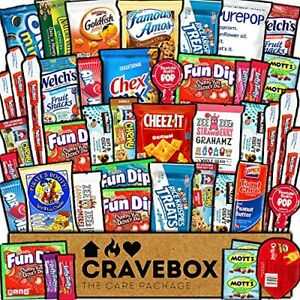 CraveBox Care Package 45 Count Snacks Food Cookies Granola Bar Chips Candy Ul...