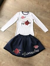 Monnalisa Roses Outfit Age 12 Skirt Top