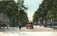 SARATOGA NY - Broadway showing Horses and Carriages - udb - 1906