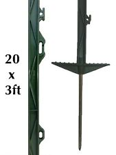 20 X GREEN 3FT POLY POSTS - Electric Fencing Fence Stakes Double Step Pony