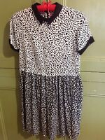 Size 10 River Island S Sleeve Black & White Print Dress /Long Top Career Work