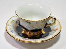Atq 1850s MEISSEN Crossed Swords Cobalt Blue FLOWERS Cup & Saucer Collector Qual