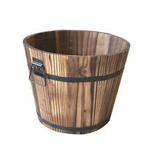 Wooden Bucket Shape Flower Pot Garden Planter Window Box Home Garden Decor