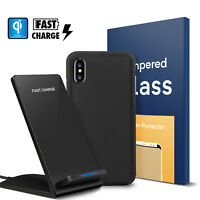 For iPhone X / 8 / 8 Plus QI Fast Wireless Charger+Case+Screen Protector Bundle