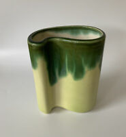 """VINTAGE CERAMIC PLANTER or Vase Yellow Pottery w/ Green Drip Curved Shape 7"""" H"""