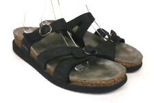 MEPHISTO Sz 7/38 Black Leather Two Buckles Slides Women's Comfort Sandals