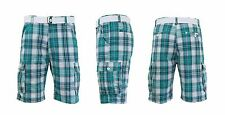 Mens 100% Cotton Flat Front Plaid Cargo Shorts Includes Belt for Camping Hiking