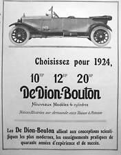 Advertising press 1923 car dion-bouton 10-12-20 hp 4 cylinder