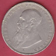 R* GERMANY SACHSEN-MEININGEN 5 MARK SILVER 1908 D VF DETAILS #N300