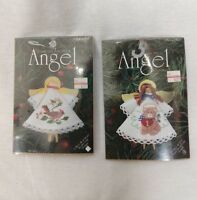 Lot 2 Angel Ornament Counted Cross Stitch Kit Clothespin 1456 1471 Bear Cardinal