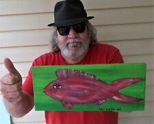 Red Snapper Fun Happy Fish Art  Dan C Outsider Folk Art Painting