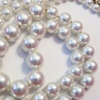"""Vintage Graduated Long Faux Pearl Necklace 30"""" Knotted White Stunning"""