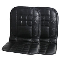 ORTHOPAEDIC LEATHER CAR FRONT SEAT PAIR COVER BACK SUPPORT CUSHION COVERS  BLACK