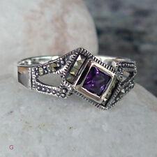 Ring mit  facettierten  Amethyst besetzt mit Markasit -Gr 54 - 17,2 mm