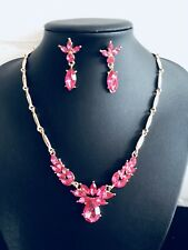 Gold Plated & Pink Rhinestones bib Necklace & Dangle earrings Fashion Party set