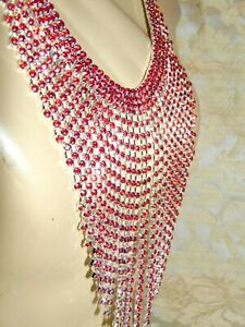 FABULOUS DRAPING FRINGE RED AUSTRIAN CRYSTAL NECKLACE EARRING SET  RHODIUM PLATE