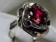 red ruby flower antique 925 sterling silver ring size 6 USA made