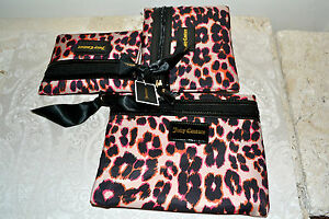 NWT $68 JUICY COUTURE Leopard Animal Print Set of 3 Cosmetic Pouches Bags Travel