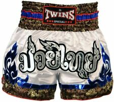 Twins Special Muay Thai Shorts - White & Blue Tribal (XL)