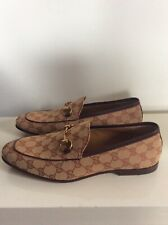 GUCCI LOAFERS JORDAAN GG LOGO CANVAS LEATHER UK9 EU43 AUTHENTIC NEW