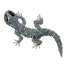 Brosche Anstecknadel Kristall Strass Echse Gecko schwarz silberfarben Nadel edel